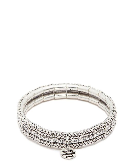 Philippe Audibert - Metallic 'fillian' Swarovski Crystal Braid Effect Elastic Bracelet - Lyst