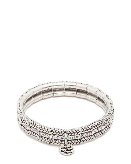 Philippe Audibert | Metallic 'fillian' Swarovski Crystal Braid Effect Elastic Bracelet | Lyst