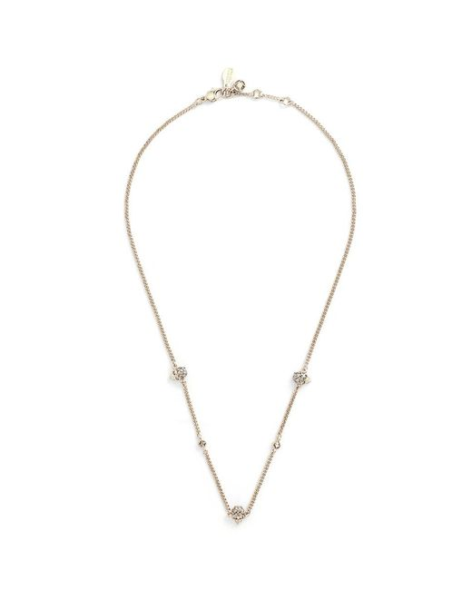 Alexander McQueen - Metallic Swarovski Crystal Skull Station Chain Necklace - Lyst