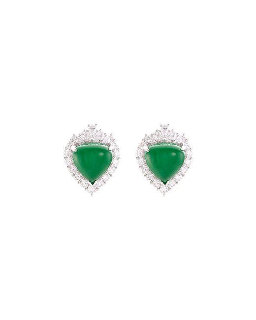 LC COLLECTION - Metallic Diamond Jade 18k White Gold Earrings - Lyst