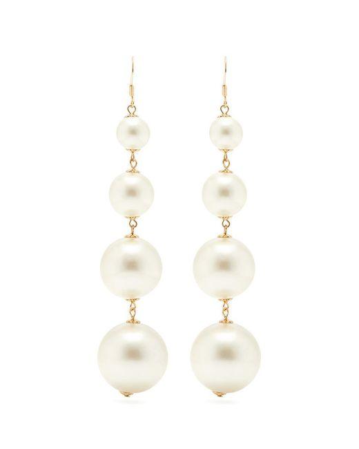 Kenneth Jay Lane - White Glass Pearl Drop Earrings - Lyst