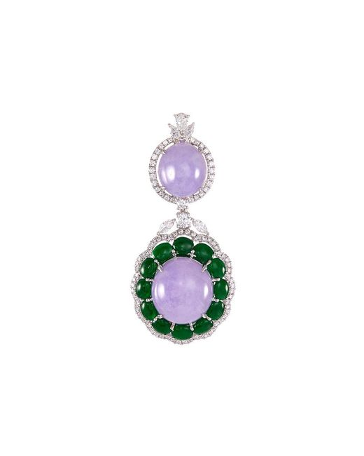 LC COLLECTION - Metallic Diamond Jade 18k White Gold Pendants - Lyst