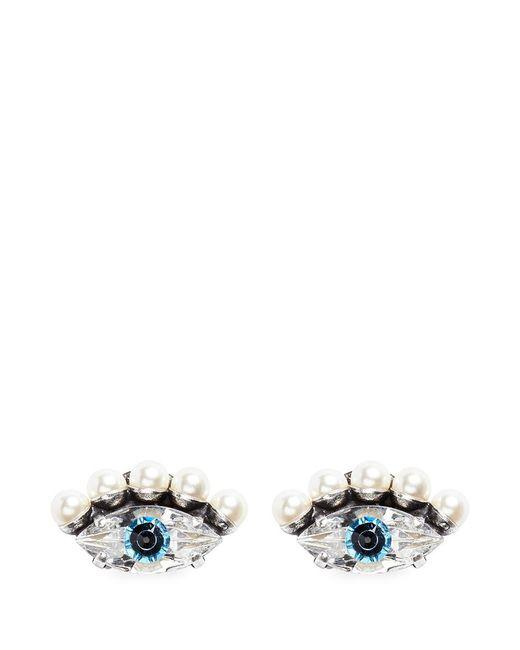 Anton Heunis | Metallic 'phoebe' Swarovski Crystal And Pearl Eye Earrings | Lyst