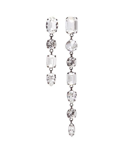 Joomi Lim - Metallic Swarovski Crystal Mismatched Linear Drop Clip Earrings - Lyst