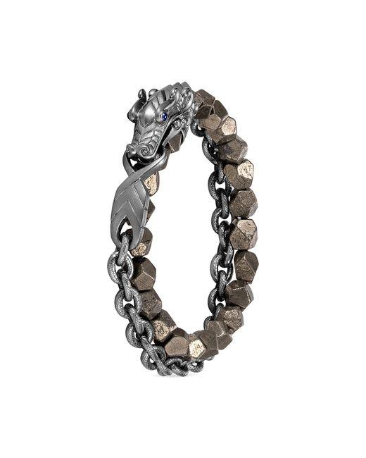 John Hardy - Metallic 'legends Naga' Sapphire Pyrite Rhodium Silver Double Wrap Bracelet for Men - Lyst