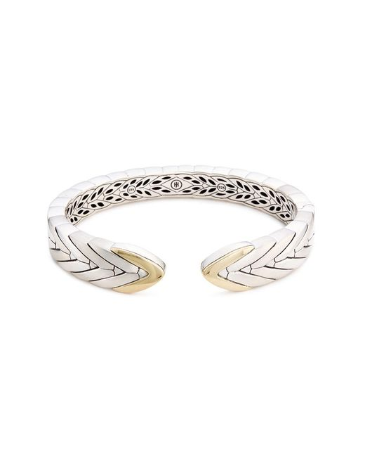 John Hardy - Metallic 18k Yellow Gold Silver Weave Effect Kick Cuff - Lyst