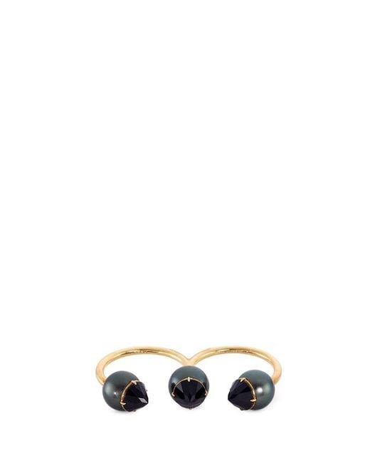 Tasaki | Metallic 'refined Rebellion Luxe' Tahitian Pearl 18k Yellow Gold Two Finger Ring | Lyst
