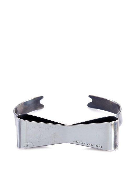Delfina Delettrez | Metallic 'papillon' Black Gold Silver Bow Cuff | Lyst