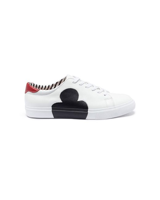 Pedder Red - White 'joe' Heart Clover Reverse Appliqué Leather Sneakers - Lyst