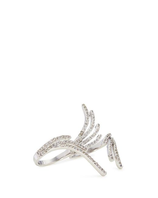 CZ by Kenneth Jay Lane - Metallic Cubic Zirconia Angel Wing Two Finger Ring - Lyst