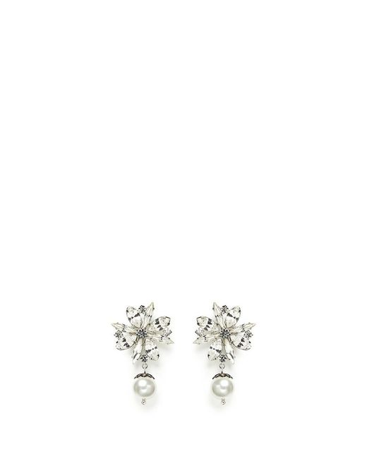 Joomi Lim | White 'monochrome Chic' Floral Swarovski Crystal And Pearl Earrings | Lyst
