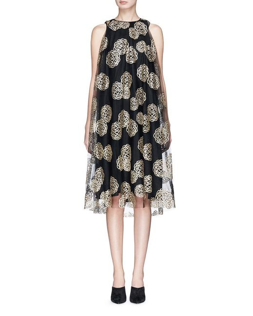 Co. | Black Glitter Floral Print Mesh Shift Dress | Lyst