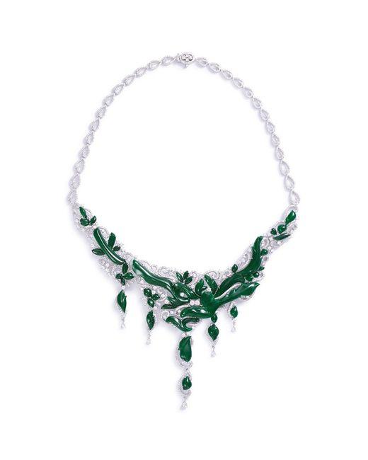 LC COLLECTION - Metallic Diamond Jade 18k Gold Vine Necklace - Lyst