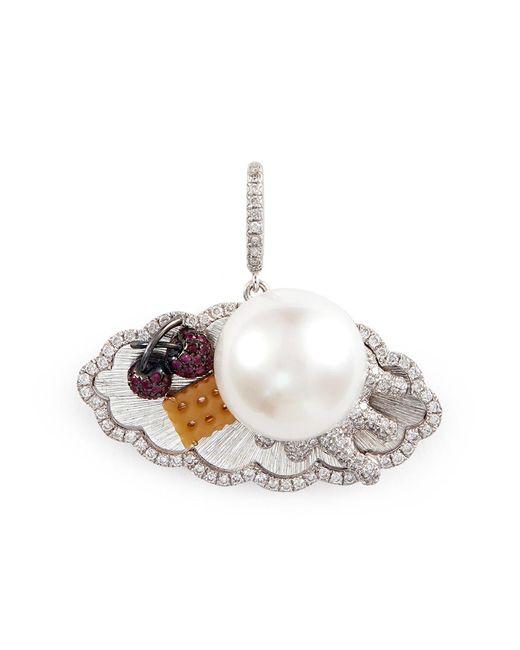 Bao Bao Wan   Metallic Diamond Pearl 18k White Gold Dessert Tray Pendant   Lyst