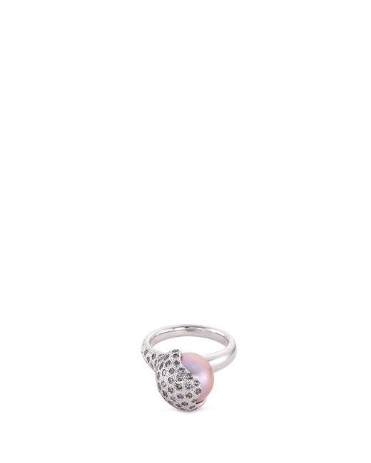 Tasaki | Metallic 'wave' Diamond Freshwater Pearl 18k White Gold Ring | Lyst
