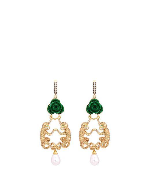 Wendy Yue   Metallic Diamond Gemstone Jade Stud Monkey Pearl Drop Earrings   Lyst