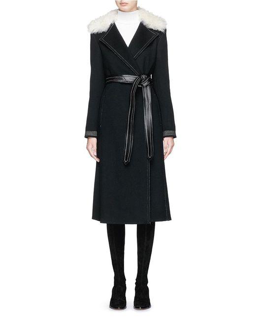 Helmut Lang | Black Lambskin Shearling Collar Wool-cashmere Coat | Lyst