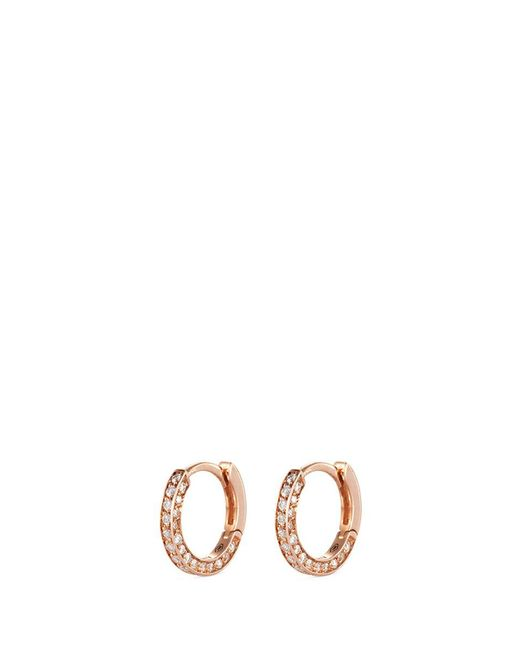 Repossi | Metallic 'micro Créole' Diamond Pavé 18k Rose Gold Single Hoop Earring | Lyst