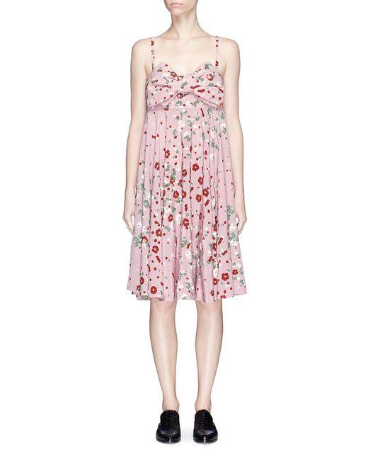 Valentino   Pink Bow Front Daisy Print Silk Dress   Lyst