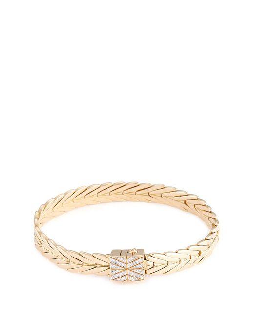 John Hardy - Metallic Diamond 18k Yellow Gold Weave Effect Link Chain Bracelet - Lyst