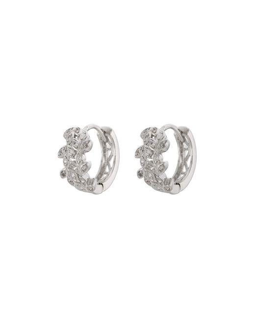 CZ by Kenneth Jay Lane - Metallic Cubic Zirconia Vine Hoop Earrings - Lyst