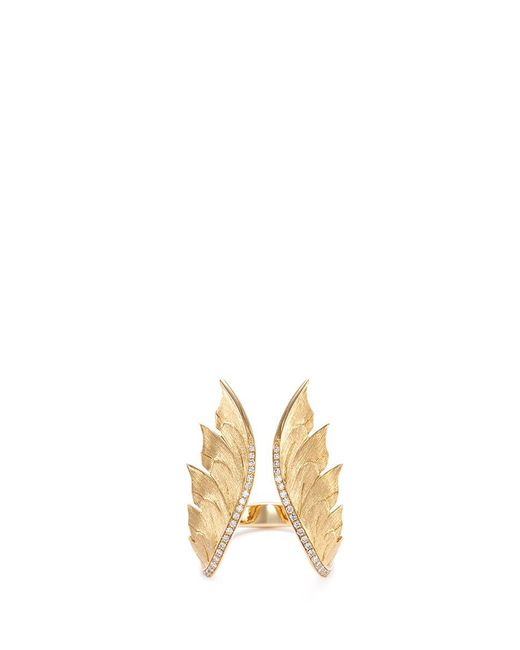 Stephen Webster - Metallic Diamond 18k Yellow Gold Feather Open Ring - Lyst