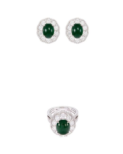 LC COLLECTION - Metallic Diamond Jade 18k White Gold Scallop Ring And Earrings Set - Lyst