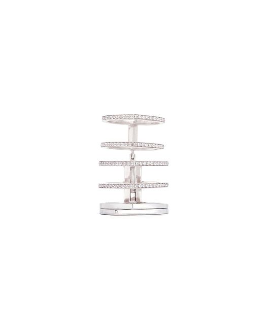 Repossi - Metallic 'antifer' Diamond Pavé 18k White Gold Six Row Linked Ring - Lyst