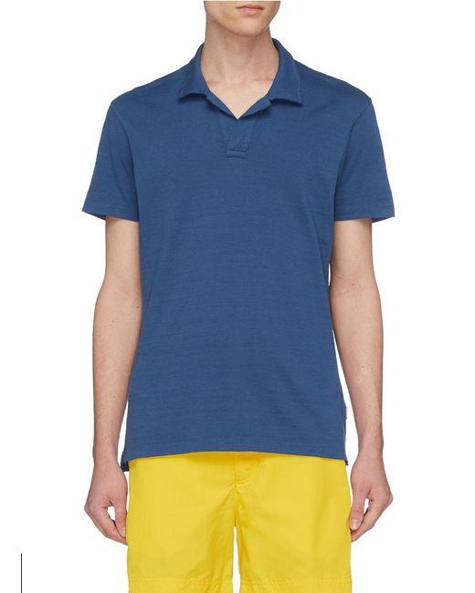 Orlebar Brown - Blue 'felix' Open Placket Slub Jersey Polo Shirt for Men - Lyst