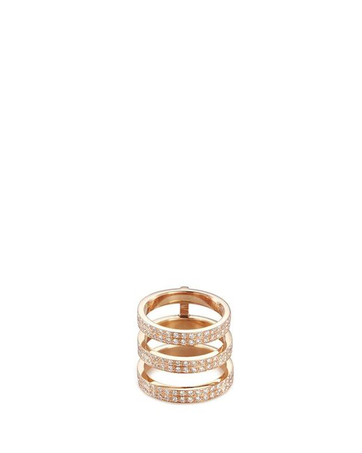 Repossi | Metallic 'berbère Monotype' Diamond 18k Rose Gold Three Row Phalanx Ring | Lyst