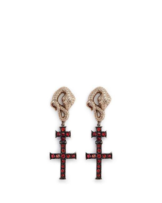 Delfina Delettrez | Metallic 'snake' Sapphire 18k Yellow Gold Cross Drop Earrings | Lyst
