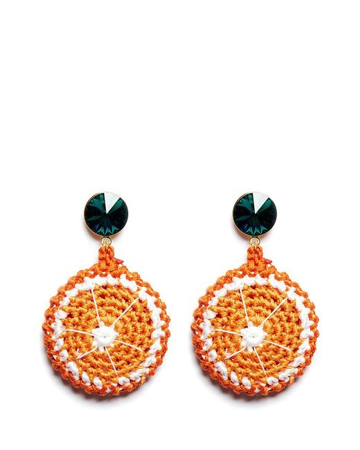 Venessa Arizaga | 'orange Slice' Rhinestone Crochet Fruit Drop Earrings | Lyst