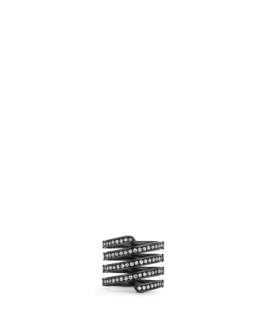 Lynn Ban | 'pavé Coil' Diamond Black Rhodium Silver Ring | Lyst