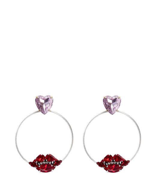 Anton Heunis | Metallic Crystal Heart And Lips Detachable Hoop Earrings | Lyst