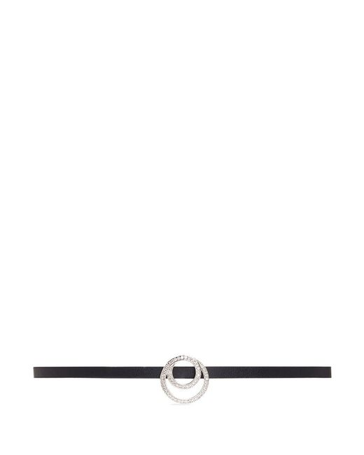 CZ by Kenneth Jay Lane | White Cubic Zirconia Interlocking Circle Charm Faux Leather Choker | Lyst