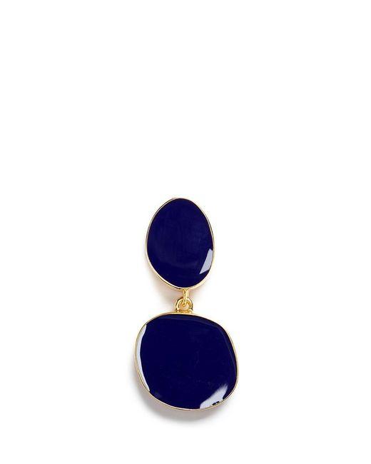 Kenneth Jay Lane   Blue Irregular Enamel Oval Tiered Drop Clip Earrings   Lyst