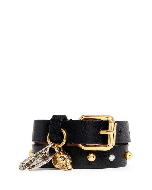 Alexander McQueen   Black Skull Safety Pin Charm Double Wrap Stud Leather Bracelet   Lyst