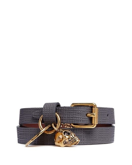 Alexander McQueen | Gray Skull Charm Double Wrap Embossed Leather Bracelet | Lyst