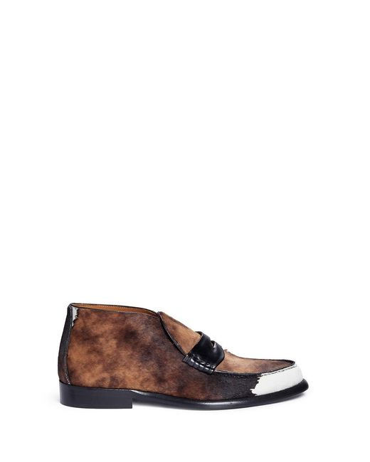 Alumnae | Brown Calfhair Penny Loafer Booties | Lyst