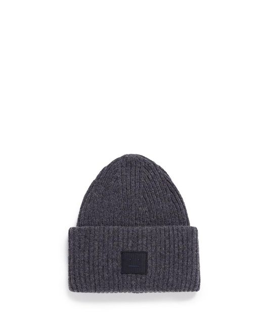 Acne | Gray 'pansy L Face' Emoticon Patch Beanie for Men | Lyst