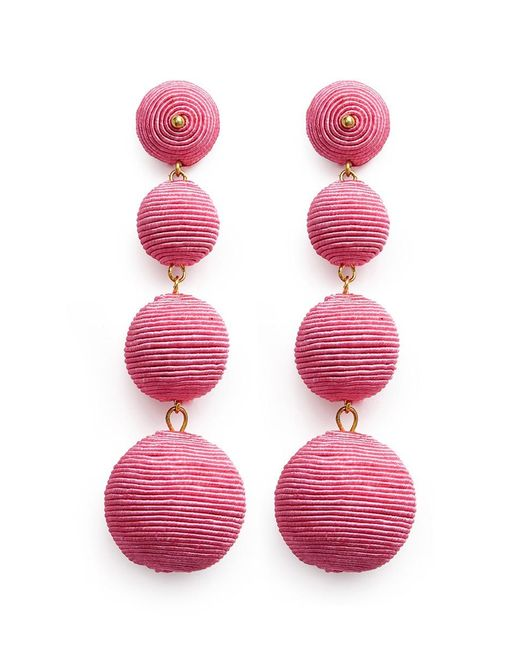 Kenneth Jay Lane | Pink 'carnival' Threaded Sphere Drop Clip Earrings | Lyst