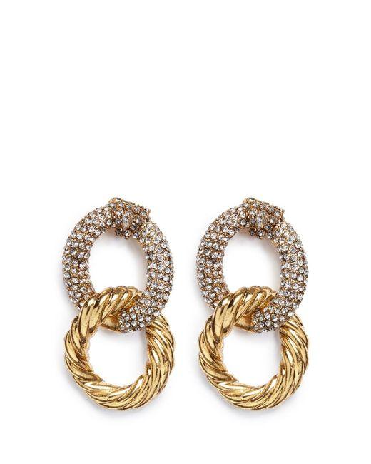 Erickson Beamon | Metallic Swarovski Crystal Interlocking Hoop Earrings | Lyst