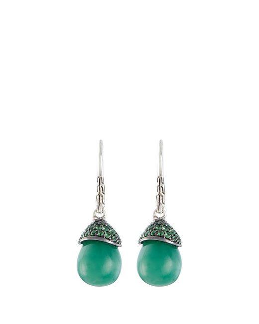 John Hardy   Green Jade Tsavorite Silver Drop Earrings   Lyst