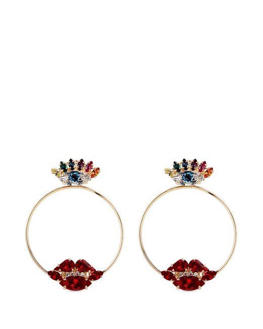 Anton Heunis | Multicolor Crystal Eye And Lips Detachable Hoop Earrings | Lyst