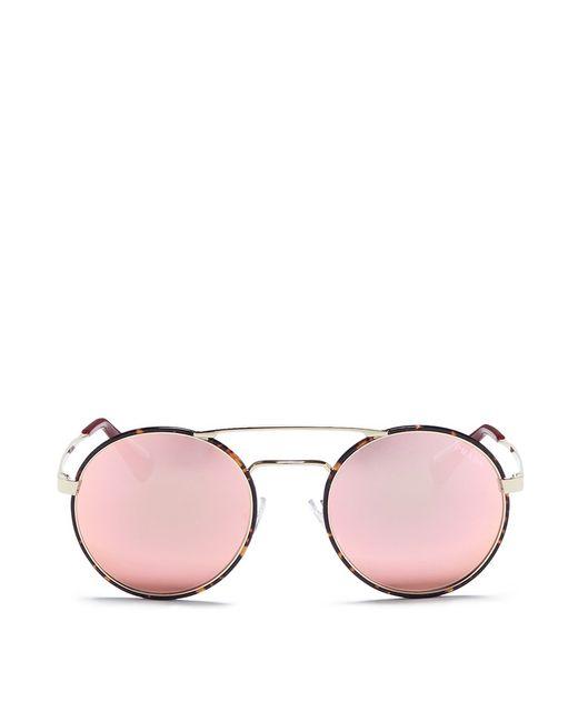 Prada | Pink Tortoiseshell Acetate Rim Round Mirror Sunglasses | Lyst