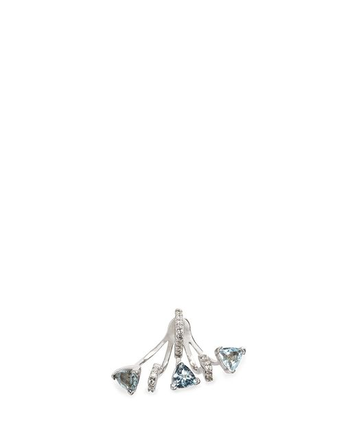 Phyne By Paige Novick | Metallic 'marta' 18k Gold Diamond Pavé Aquamarine Single Earring | Lyst