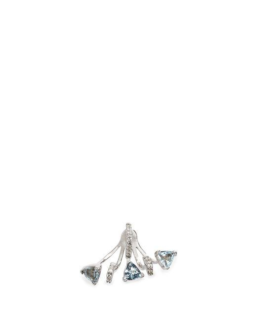 Phyne By Paige Novick | Metallic 'marta' 18k Gold Diamond Pavé Aquamarine Single Earring | Lyst