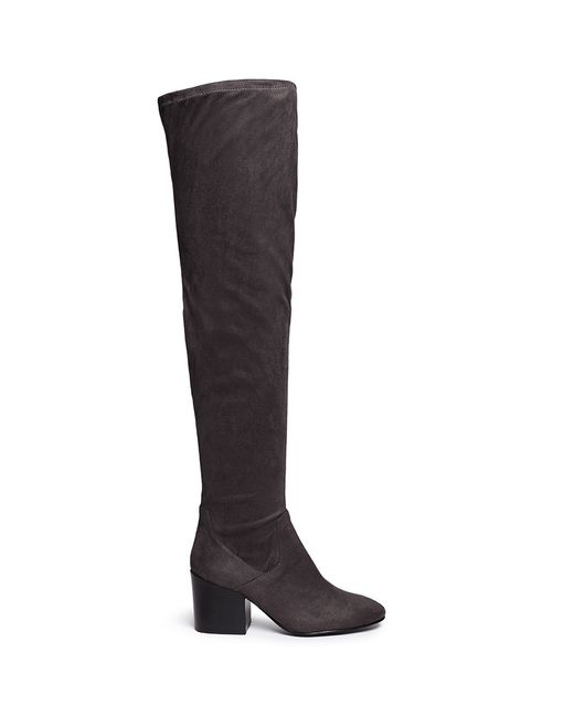 ash elisa stretch faux suede thigh high boots in gray