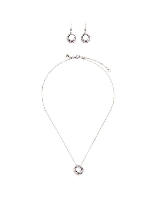 John Hardy | Metallic Silver Chain Effect Cutout Circle Earrings And Necklace Gift Set | Lyst