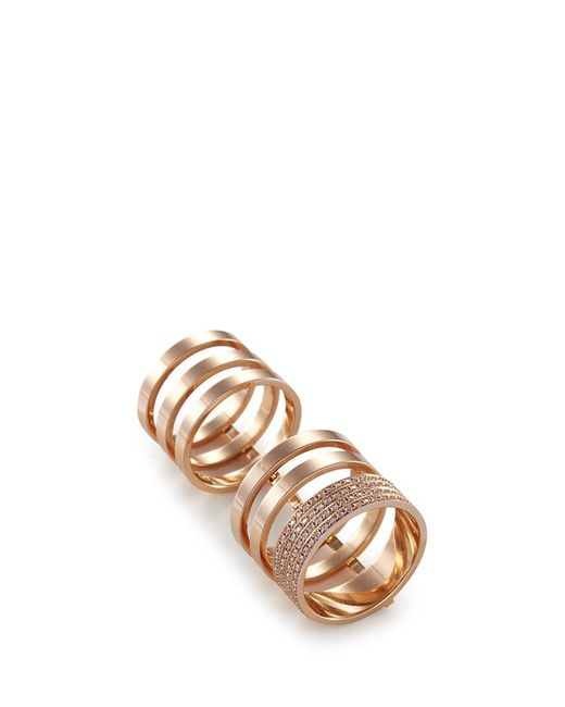 Repossi | Metallic 'berbère Module' Diamond 18k Rose Gold Six Row Linked Ring | Lyst